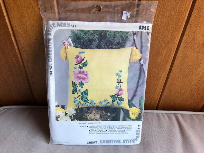 Vintage Crewel Pillow Kit  Creative Stitchery Roses in Bloom image 0