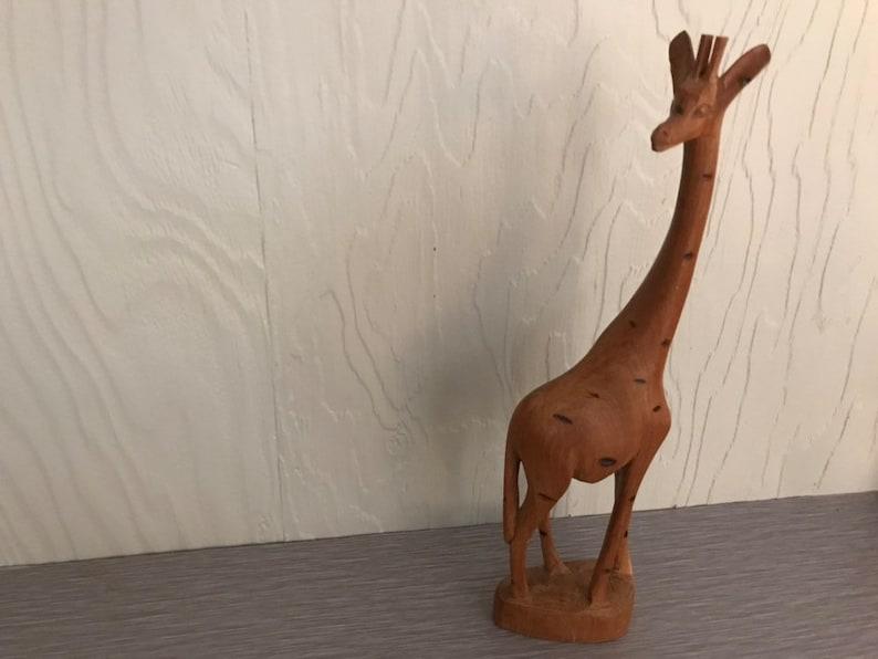 Vintage Mid Century Teak Giraffe Wood Statue  Wood Table Art image 0