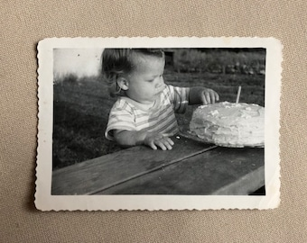 Old Photo of a Little Boy with Birthday Cake First Birthday Vintage Photograph   Black and White Vintage Original Photo   1960s   1st