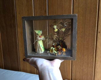 Antique Wood Shadow Box with Holland Woman and Dried Flowers   Teak Wood Box with birds and Midcentury Dried Flowers Birds