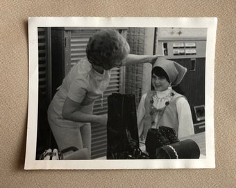Old Photo of a Woman with Little Girl in Gypsy Costume Vintage Photograph   Black and White Vintage Original Photo   1960s   Halloween
