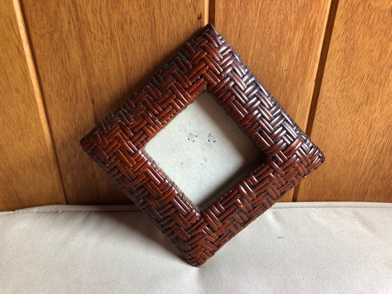 Boho Wicker Picture Frame  6 Wall Brown Wicker Frame  image 0