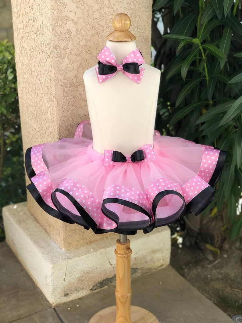 Minnie Mouse themed Layered Ribbon Trimmed Tutu /& Headband