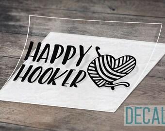 LVE Decals Happy Hooker Fishing Window Decal Sticker