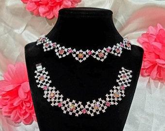 Vintage Coro Aurora Borealis Necklace & Bracelet