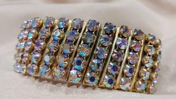 1960's Aurora Borealis Expansion Cuff Bracelet