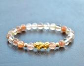 SALE Pixiu 24k Pure Gold Rutilated quartz bracet rutilated quartz natural rutilated quartz.lucky charm