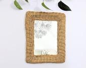 Vintage Wicker Mirror Natural Blonde Wicker Square Mirror Vanity Mirror Small Bohemian Wall Mirror