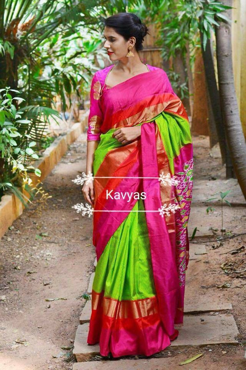 Pochampally ikkat parrot green checks silk saree with pink,Pure pochampally  silk saree,green ikkat saree,green pochampally saree