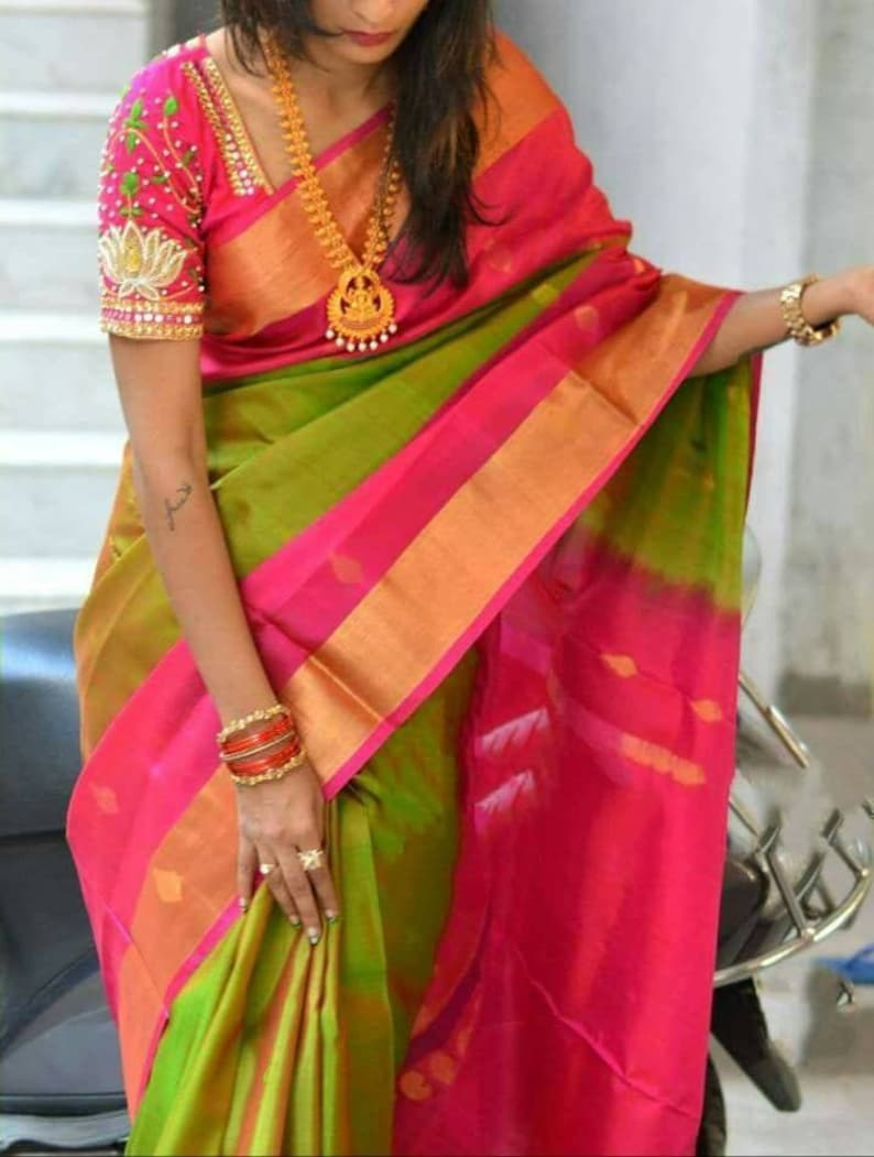 Uppada pure silk saree in green and pink color with buttas all over the  body,handwoven uppada jamdani saree,pure uppada saree,Green saree