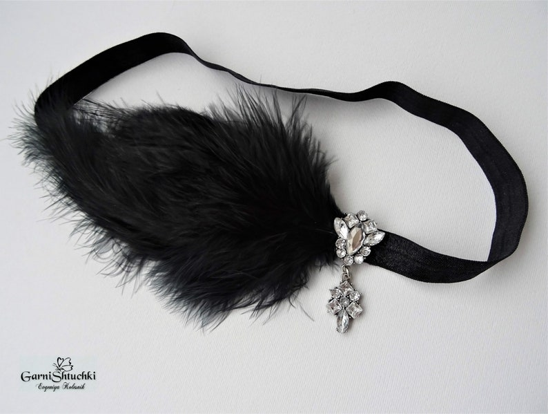Black Decoration with feathers style of Gatsby ostrich feathers ceramic pearls crystal  bandage party in the style of 30th years of Chicago