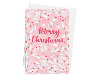 Illustrated Christmas Card - with Merry Christmas hand lettering