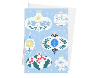 Illustrated Christmas Card - with Christmas ornaments