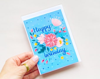 Illustrated Birthday Card - with flowers and handwriting