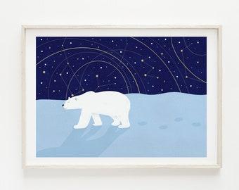 Polar Bear Nursery Print. Illustrated Fine Art Giclée print on archival paper. Illustration. A4. Poster. Unframed.