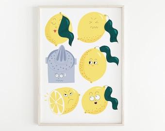 Funny Lemons Print. Illustrated Fine Art Giclée print on archival paper. Illustration. A4. Poster. Unframed.