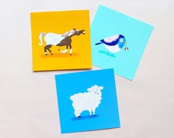 Cute Animal Illustration Mini Fine Art Giclée Miniprints. Horse, Sheep and Bird. Animal Nature Wall Art. Gift for Children. Unframed.