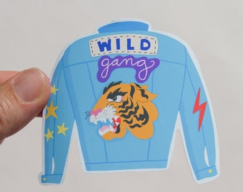 Jeans jacket waterproof vinyl sticker / Water Bottle sticker, Planner sticker, Laptop Sticker, Bullet journal sticker / Animal Sticker