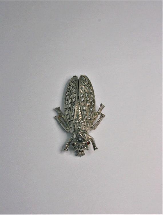 Vintage cicada brooch Silver Brooch insect