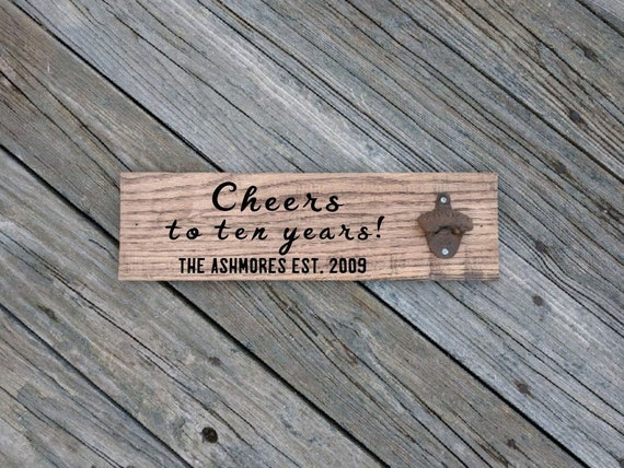 Cheers Sign 10th Wedding Anniversary Gift For Couple Husband Etsy