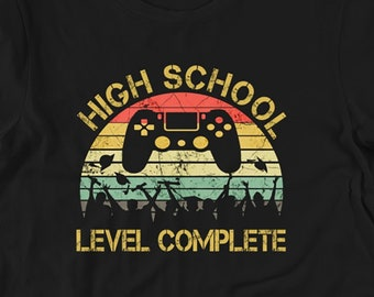 09e6df59 2019 High School Graduation Shirt Gamer Graduation Gifts - High School  Senior College Graduation Gift Him Her - High School Level Complete