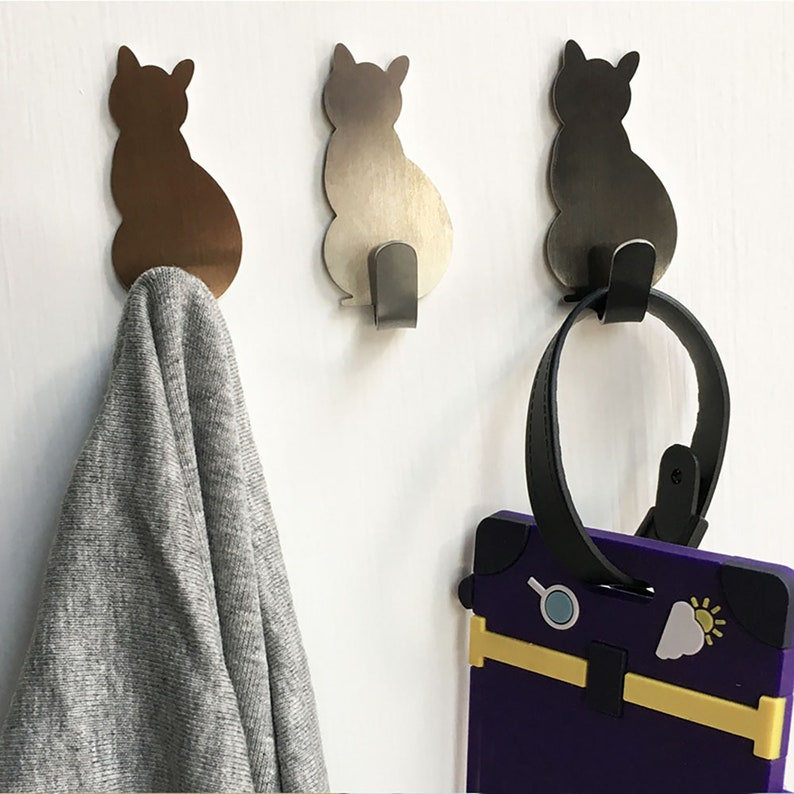 2pcs Self Adhesive Wall Hook Cat Pattern Hangers image 0