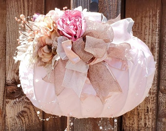 Fall Decor. Pumpkin Front Door Wreath or Wall Hanging. Shabby Chic Style. Thanksgiving Decor.