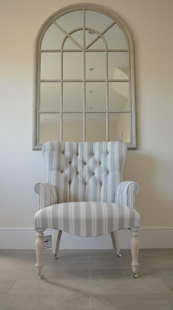 Armchair White & Duck Egg Thick Stripe Linen Chair/Bedroom Chair. Handmade  in UK