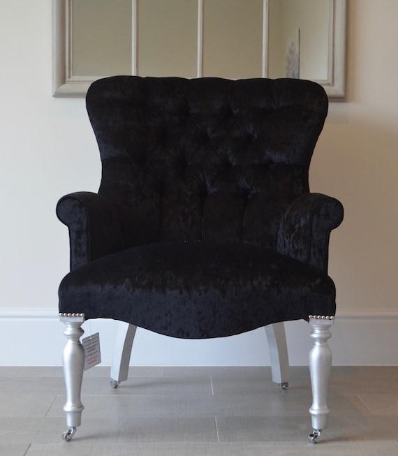 Crush Black Velvet Armchair Chair/Bedroom Chair. Handmade in UK
