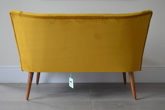 Terrific Two Seater Cocktail Sofa Bench Seat In Mustard Antique Gold Handmade In Uk Ocoug Best Dining Table And Chair Ideas Images Ocougorg