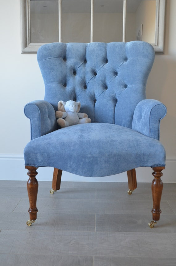 Armchair Blue Velvet Chair/Bedroom Chair. Handmade in UK