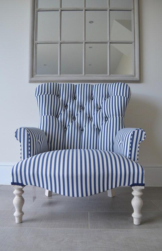 Armchair Blue & White Striped Chair/Bedroom Chair on Shorter Legs.Handmade  in UK