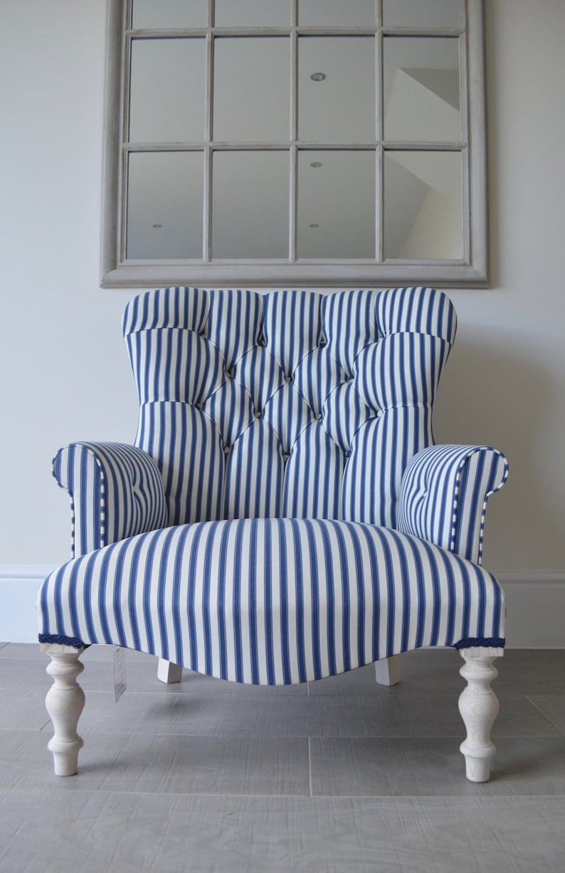 Wondrous Armchair Blue White Striped Chair Bedroom Chair On Shorter Legs Handmade In Uk Home Interior And Landscaping Dextoversignezvosmurscom