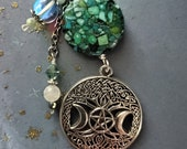 Celtic Purse Jewelry or Key Chain Celtic Pentagram, Moon Tree of Life Pendant Chrysocolla Keyring Perfect Gift for Ireland Lovers