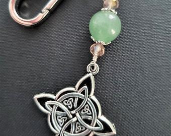 CELTIC KNOT MOON LITE IRISH Pewter KEYCHAIN Key Ring