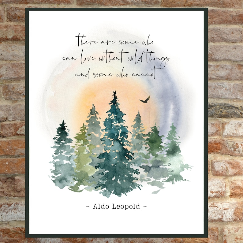 Forest Art Print Gift for Tree Huggers Naturalist Watercolor Wall Poster John Muir Quote: Keep close to nature/'s heart