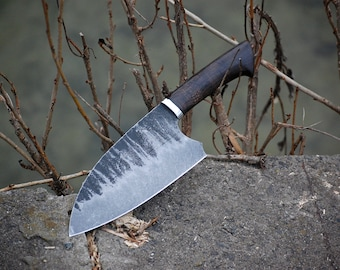Serbian Chef Forged Knife With Leather Sheath, Chopper Handmade Knives, Personalized Knife, Cleaver, High-carbon Clad Steel