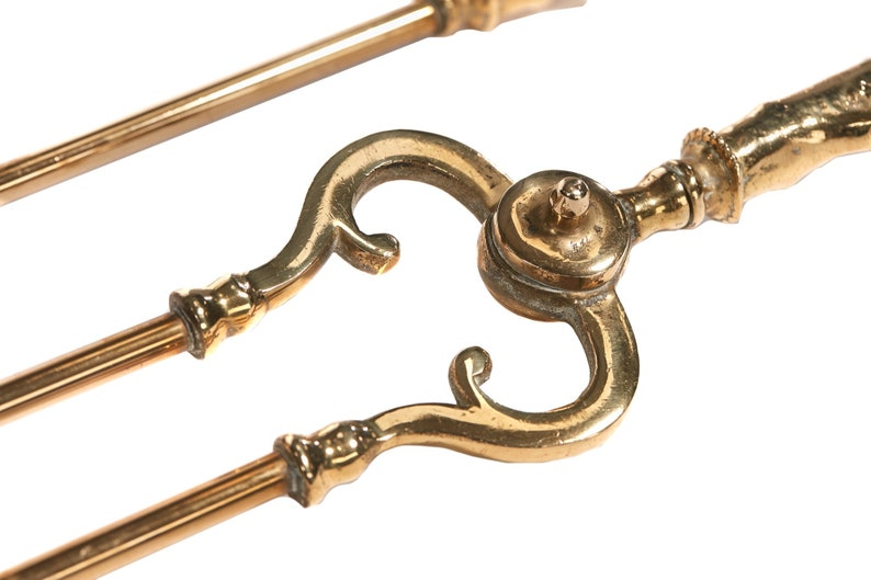 Set Of 3 Antique Brass Fire Irons