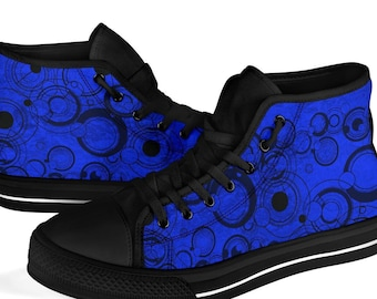 Doctor Who Gallifreyan high top sneakers  - Blue  Dr Who hi top sneakers (SN2)