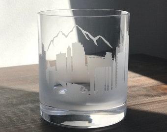 Cute Denver Gift Fun Colorado Gift Denver Whiskey Glass DEN Denver Colorado Round Rocks Glass Cool Colorado Gift