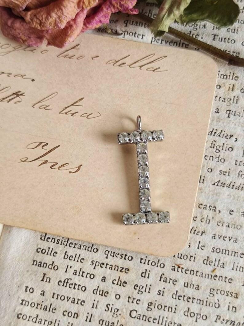 1980s vintage initial letter alphabet letters in silver frame crystal letter I