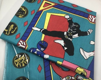 "Vintage fabric panel Power Rangers 1995 Saban Spring Industries 35"" x 44.5"""
