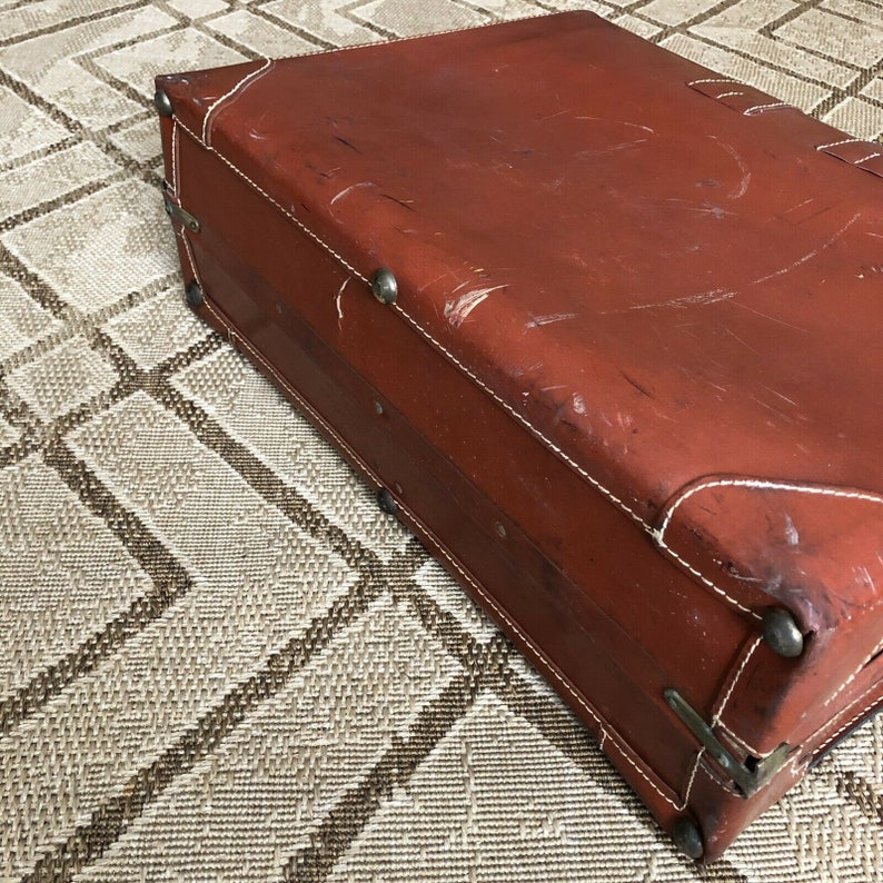 Retro 1950s Vintage Mid Century Suitcase Tommy Traveler Eastern Airlines Tag