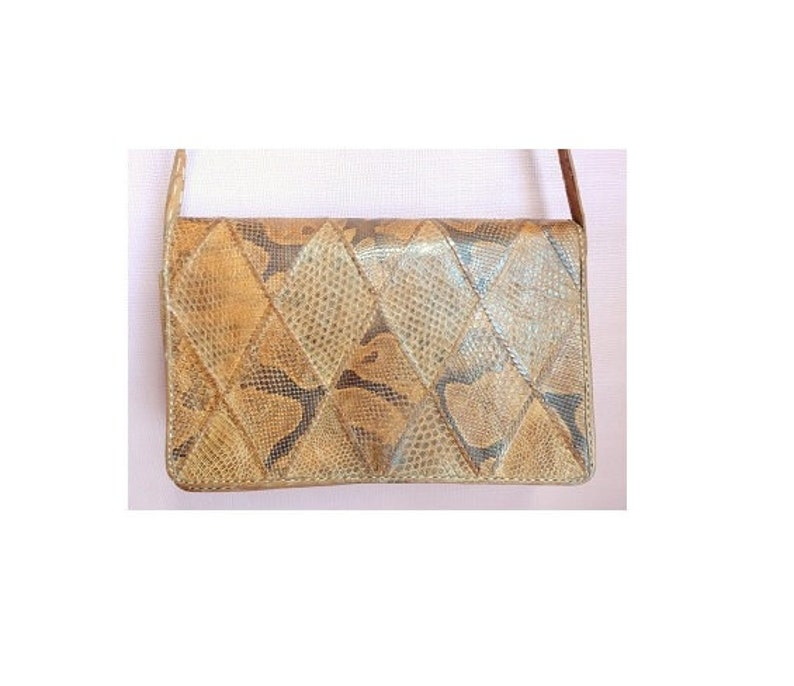 Bag Sacoche Leather Purse and vintage snakeskin 1960-70s Belle Patine Free Shipping