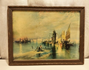 1925 Brown and Bigelow lithograph Thomas Moran from an 1898 painting with frame