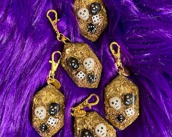 Gold Good Luck Skull and Dice Charm, Fleur de Lis or Horseshoe