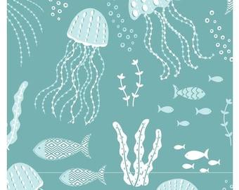 Beachside Pretty Medusa Jellyfish Green Camelot Cotton Fabric