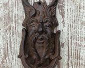 Green man door knocker bronze cast iron