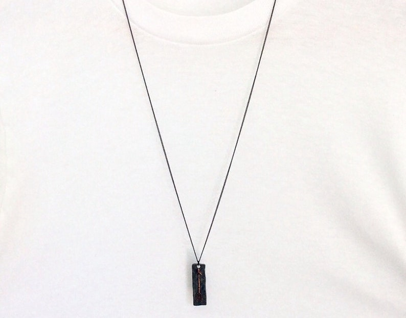 Arrow Hammered Rectangle Tag Jewelry Mens Necklace Bar Necklace Mens Jewelry Women Jewelry Initial Jewelry Necklace