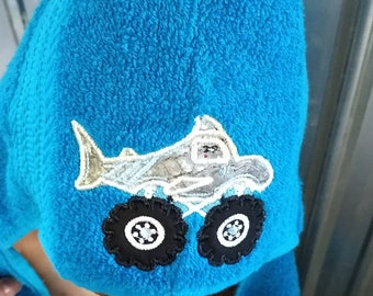 b1c6ffd786 Large boys monster truck hooded towel, beach towel, bath time, shark hooded  towel, blue hooded towel, personalized boy gift.
